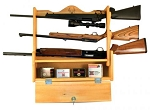 Hunter's Specialties Cabin Collection Locking 3 Gun Rack with Shelf (Albus Wood)