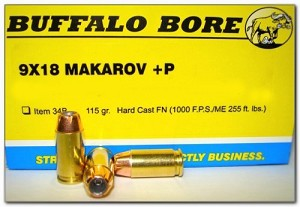 Buffalo Bore 9x18mm Makarov +P 115gr Hard Cast FN