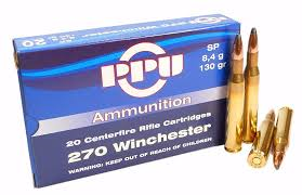 PPU 270 Winchester 130gr SP 20 Rnds