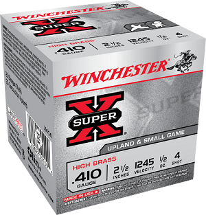 "Winchester Super-X Hi-Brass 410ga 2-1/2"" 1/2oz 4-Shot"