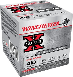 "Winchester Super-X Hi-Brass 410ga 2-1/2"" 1/2oz 7.5 Shot"